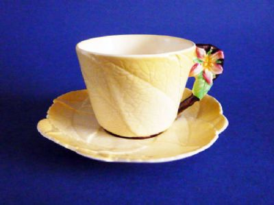 Fine Carlton Ware Yellow 'Apple Blossom' Teacup and Saucer c1939 #1
